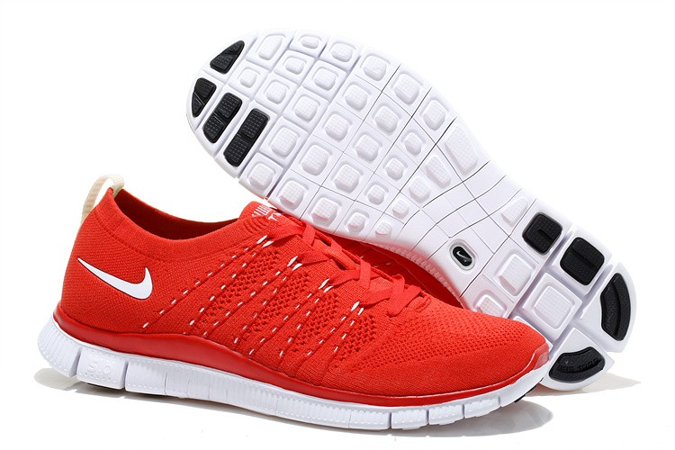 Nike Free 5.0 Flyknit Womens Running Shoes Red White
