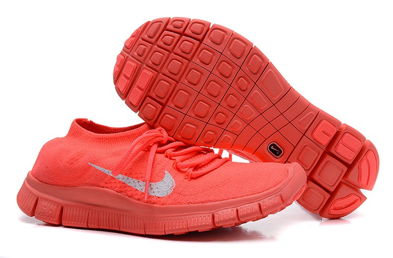 Nike Free 5.0 Flyknit Womens Running Shoes Red