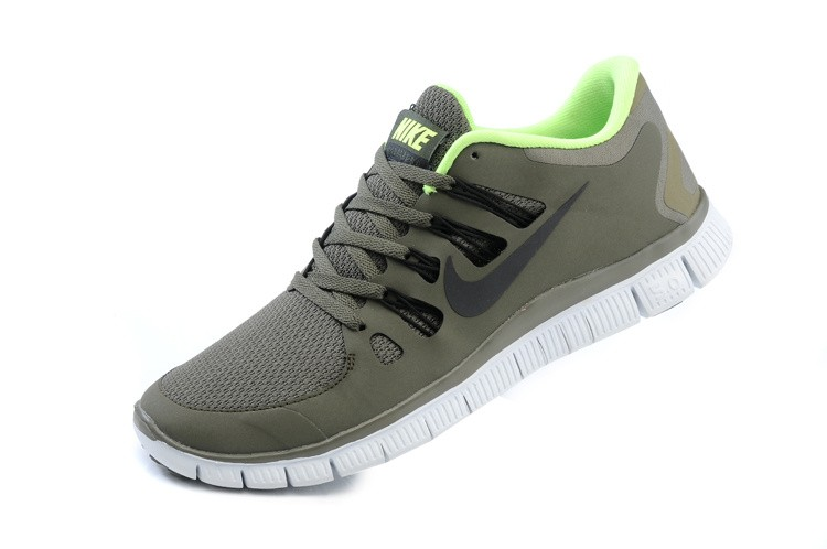 Nike Free 5.0 Mens Army Green Fluorescence Green Running Shoes