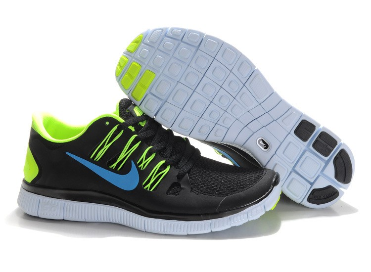 Nike Free 5.0 Mens Black Fluorescence Green Running Shoes