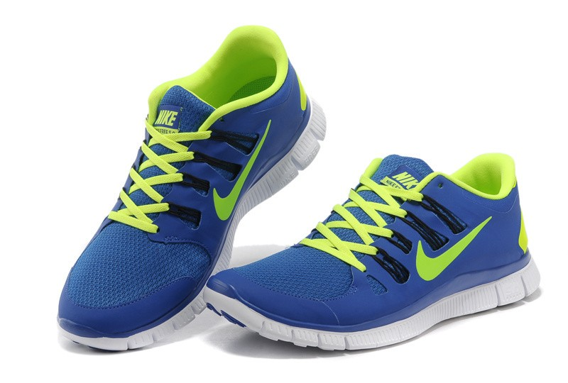 Nike Free 5.0 Mens Blue Fluorescence Green Running Shoes