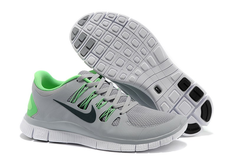 Nike Free 5.0 Mens Grey Fluorescence Green Running Shoes