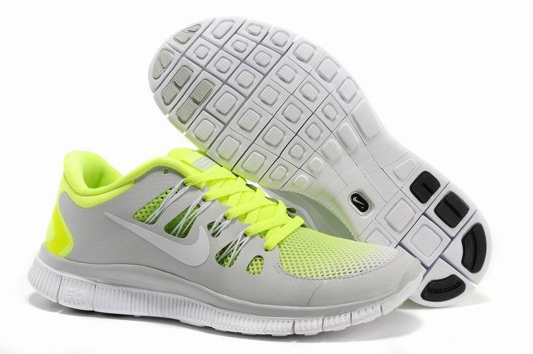 Nike Free 5.0 Mens Light Grey Fluorescence Green Running Shoes