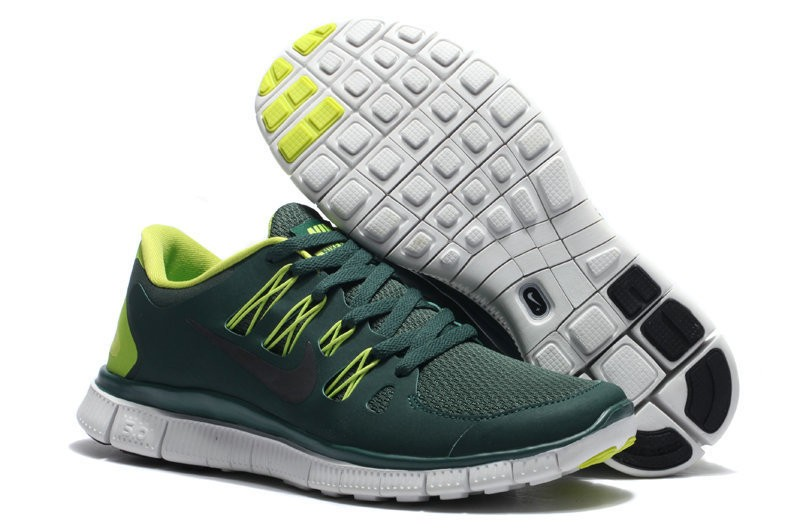 Nike Free 5.0 Womens Army Green Yellow Running Shoes