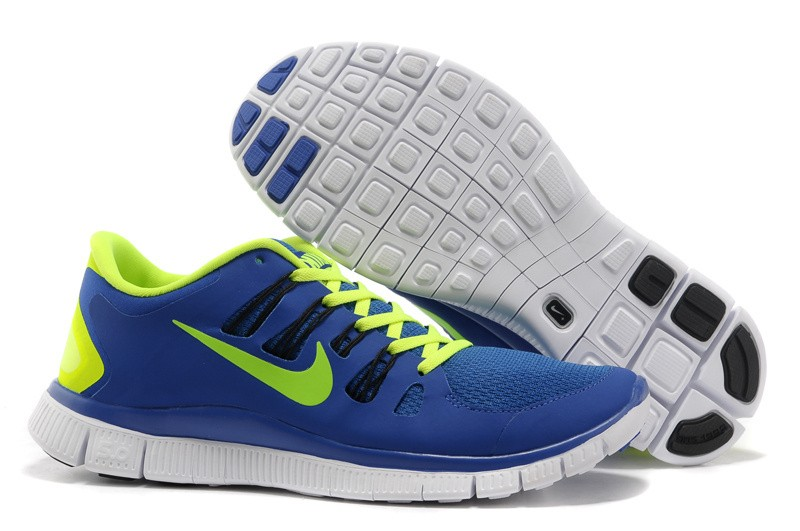Nike Free 5.0 Womens Blue Fluorescence Green Running Shoes