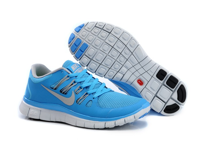 Nike Free 5.0 Womens Blue Light Grey Running Shoes