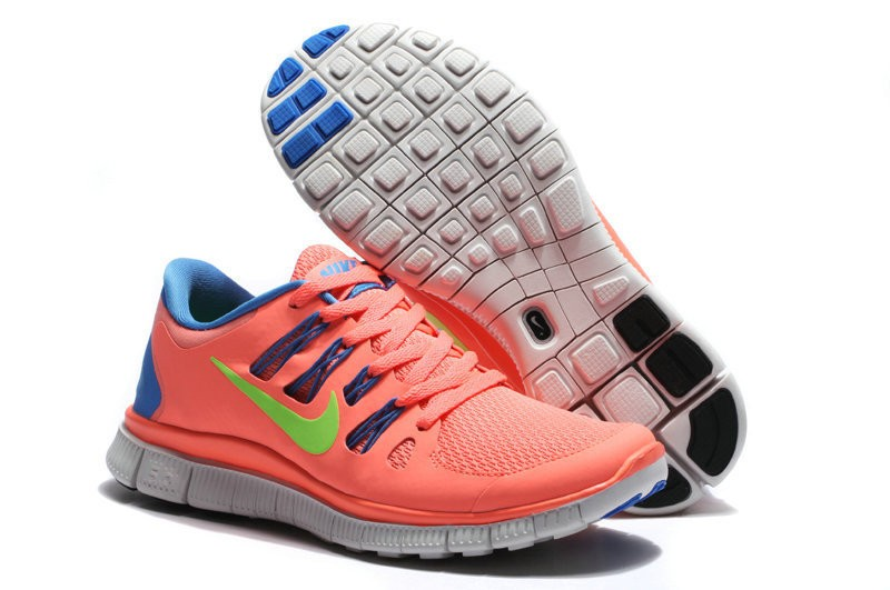 Nike Free 5.0 Womens Coral Blue Running Shoes