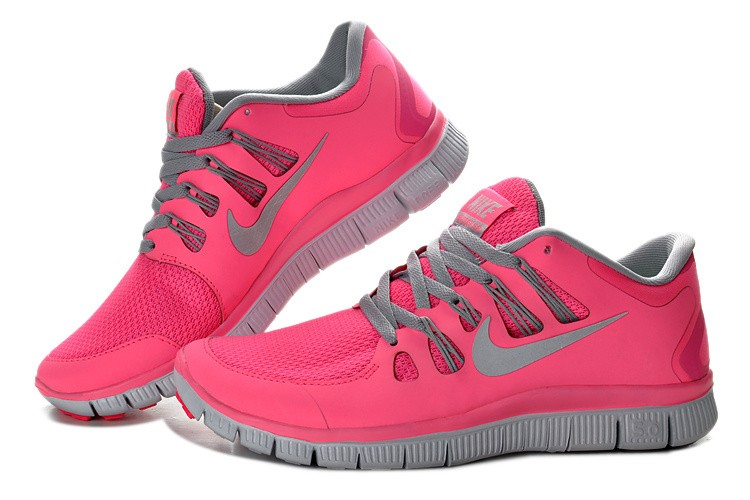 Nike Free 5.0 Womens Coral Light Grey Running Shoes