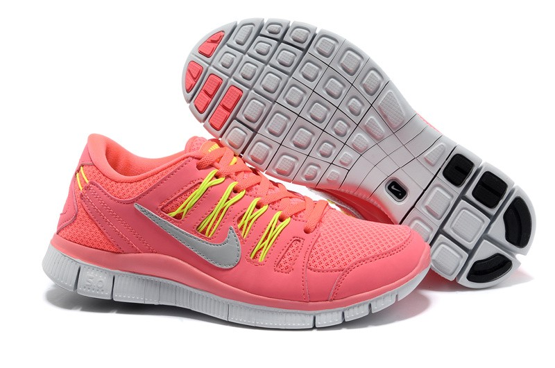 Nike Free 5.0 Womens Coral Yellow Running Shoes