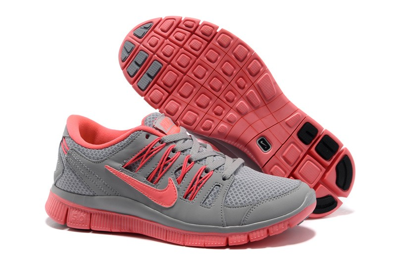 Nike Free 5.0 Womens Grey Pink Running Shoes