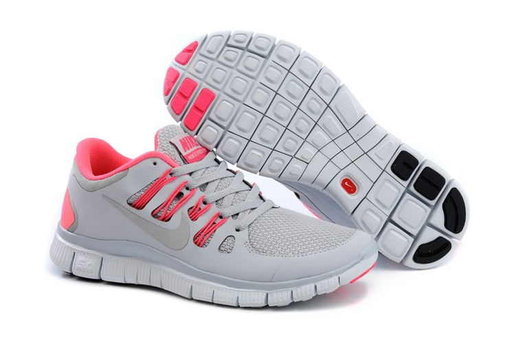 Nike Free 5.0 Womens Light Grey Bright Pink Running Shoes