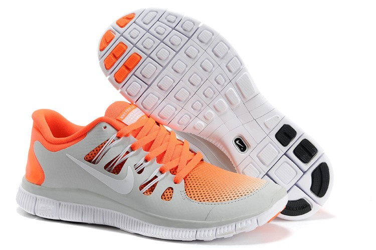 Nike Free 5.0 Womens Light Grey Orange Running Shoes