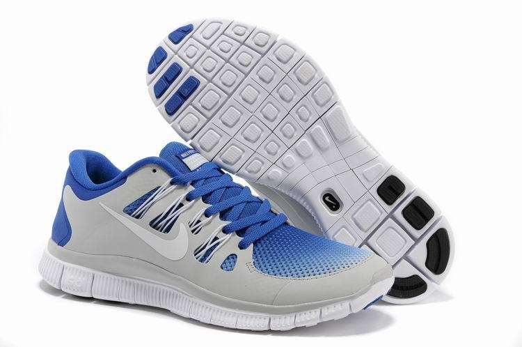 Nike Free 5.0 Womens Light Grey Royalblue Running Shoes