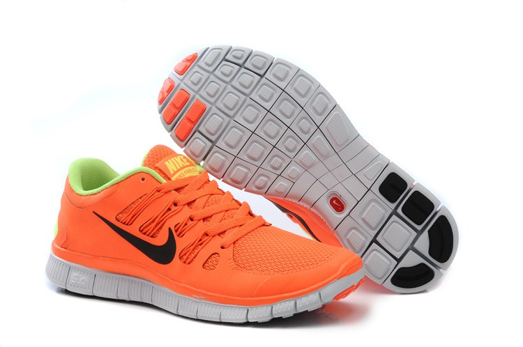 Nike Free 5.0 Womens Orange Fluorescence Green Running Shoes