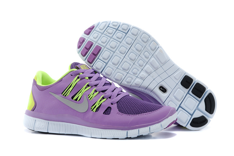 Nike Free 5.0 Womens Purple Fluorescence Green Running Shoes