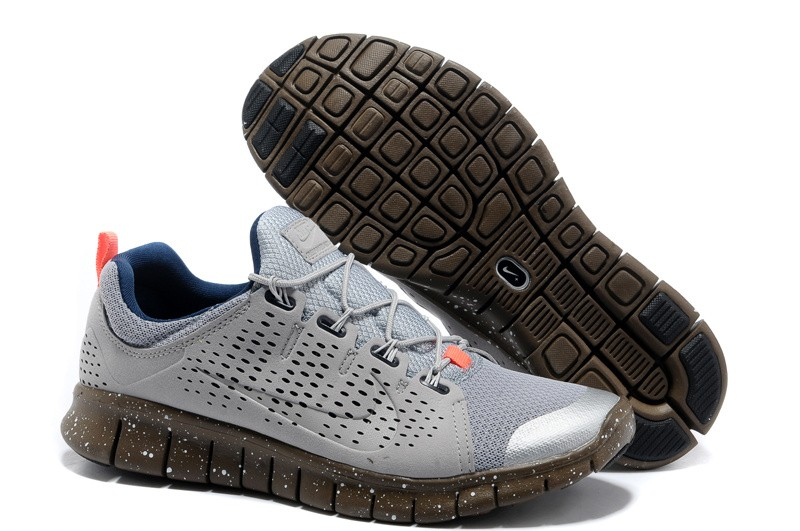 Nike Free Powerlines 2 Mens Light Gray Brown Blue Shoes