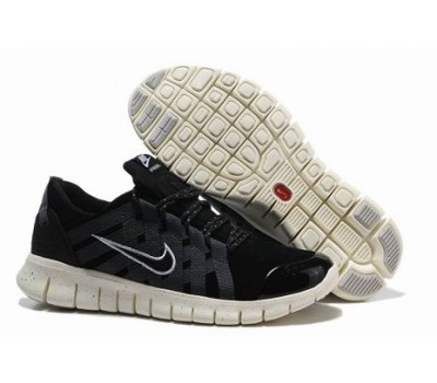 Nike Free Powerlines Premium Mens Running Shoes Black Grey White