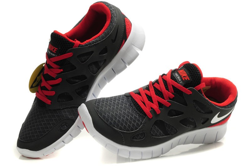 Nike Free Run+ 2 Mens Running Shoes Anthracite Black White Red