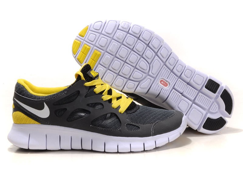 Nike Free Run+ 2 Mens Running Shoes Anthracite Grey White Black Yellow
