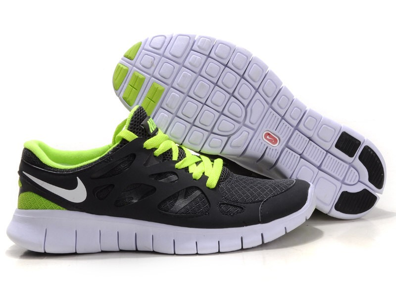 Nike Free Run+ 2 Mens Running Shoes Anthracite White Green Grey Black