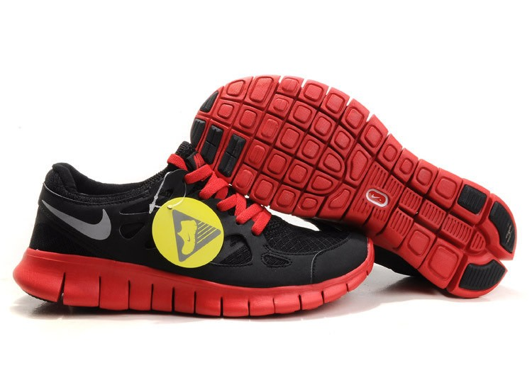 Nike Free Run+ 2 Mens Running Shoes Black Gym Red
