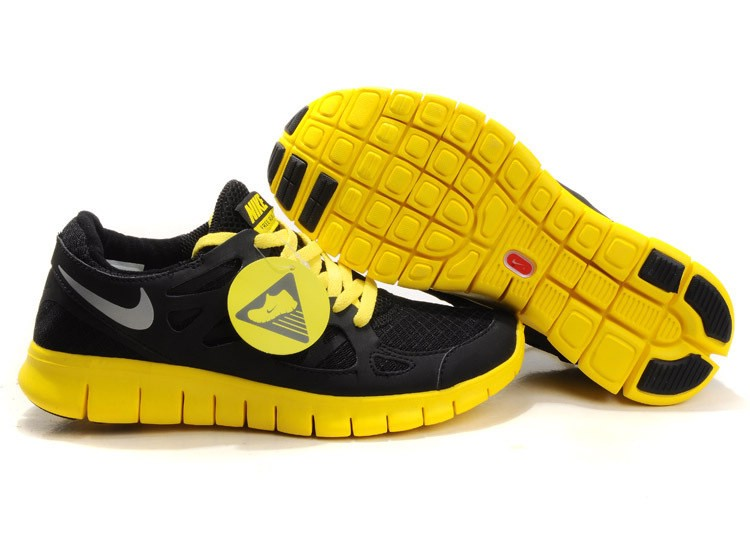 Nike Free Run+ 2 Mens Running Shoes Black Lime Yellow