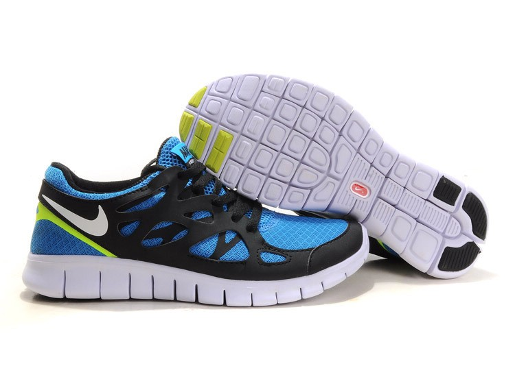 Nike Free Run+ 2 Mens Running Shoes Black White Blue Yellow
