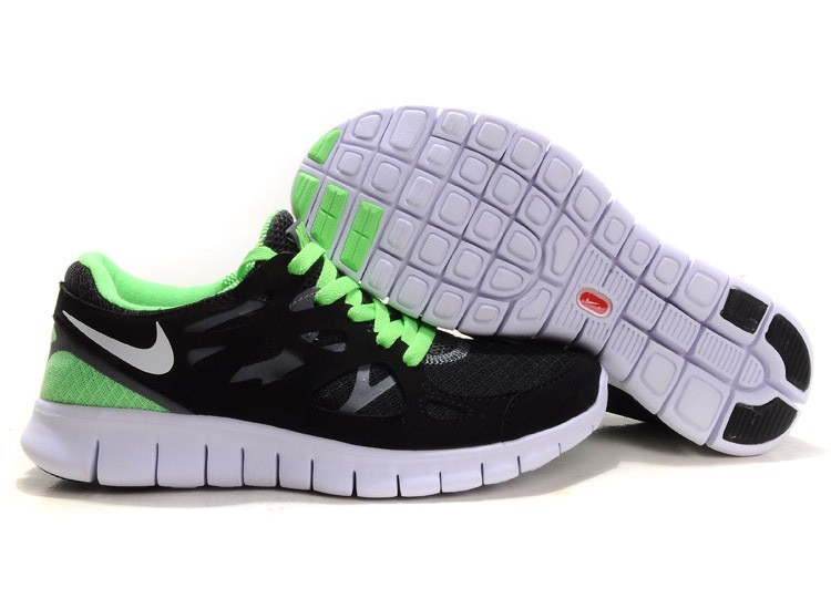 Nike Free Run+ 2 Mens Running Shoes Black White Green