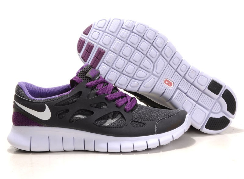 Nike Free Run+ 2 Mens Running Shoes Black White Purple Anthracite