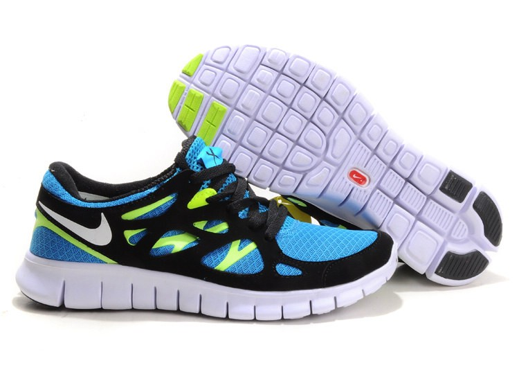 Nike Free Run+ 2 Mens Running Shoes Blue Glow White Black Volt