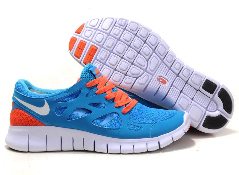 Nike Free Run+ 2 Mens Running Shoes Blue White Orange