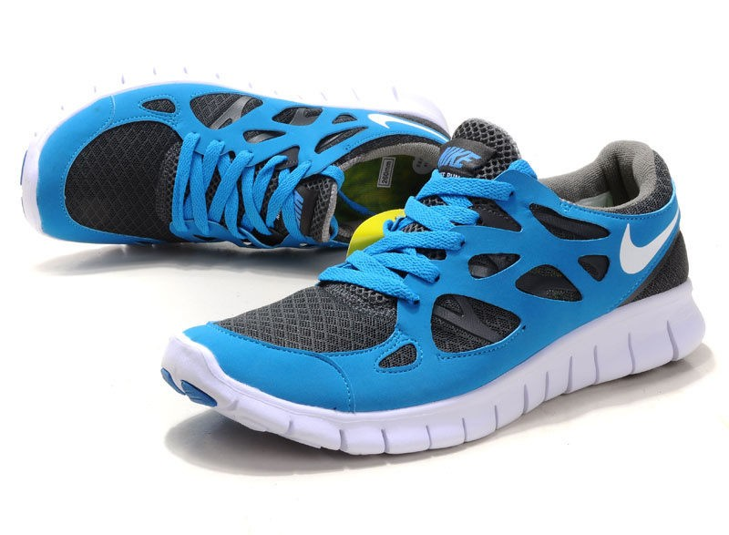 Nike Free Run+ 2 Mens Running Shoes Blue White Wolf Grey