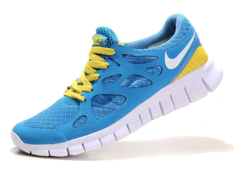 Nike Free Run+ 2 Mens Running Shoes Blue White Yellow