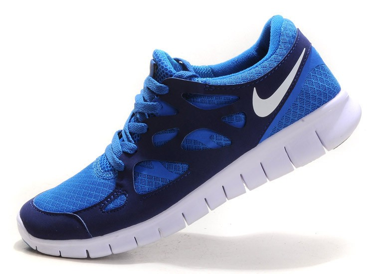 Nike Free Run+ 2 Mens Running Shoes Bright Loyal Blue Pure Platinum White