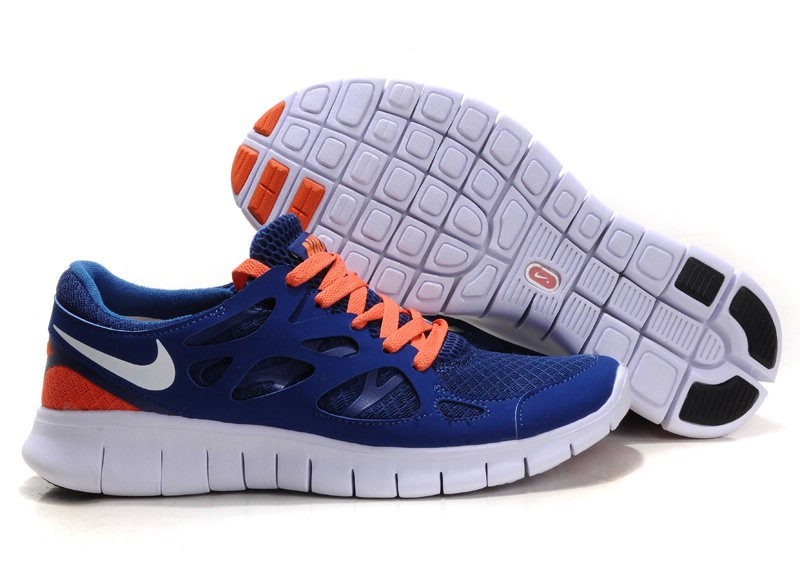 Nike Free Run+ 2 Mens Running Shoes Drench Blue Orange White