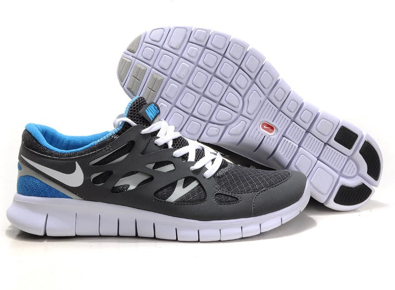 Nike Free Run+ 2 Mens Running Shoes Grey White Blue Black