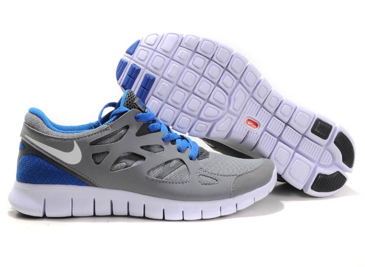 Nike Free Run+ 2 Mens Running Shoes Grey White Blue