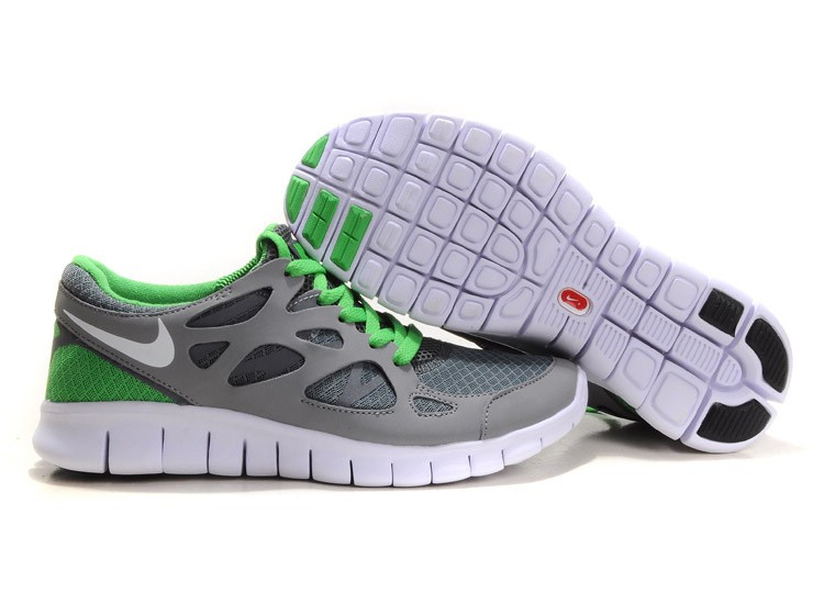Nike Free Run+ 2 Mens Running Shoes Grey White Green