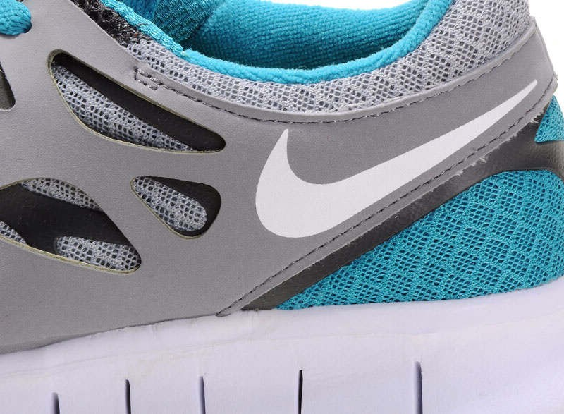 Nike Free Run+ 2 Mens Running Shoes Grey White Teal Blue