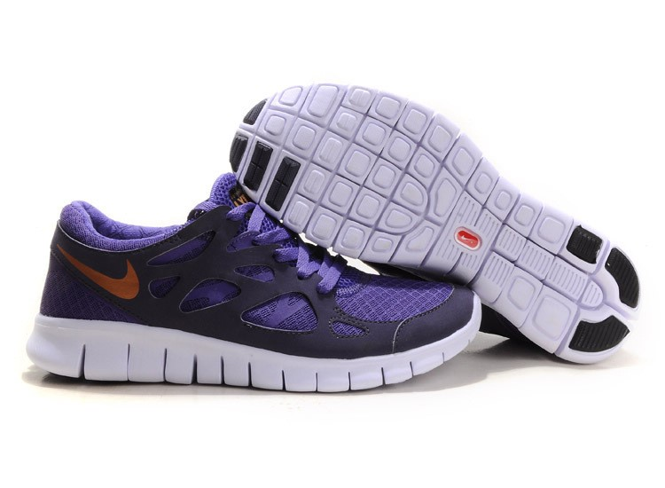 Nike Free Run+ 2 Mens Running Shoes Purple Gold White