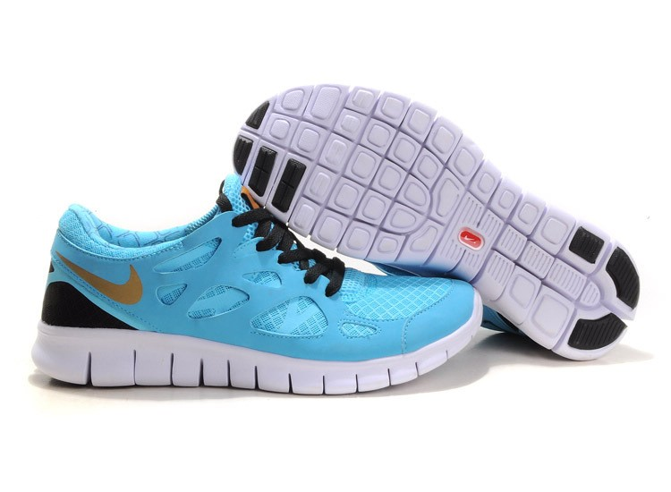 Nike Free Run+ 2 Mens Running Shoes Turquoise Gold Black White