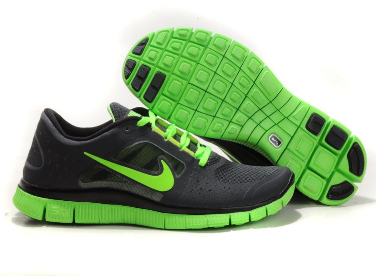 Nike Free Run+ 3 Men's Running Shoe Black Fluorescence Green