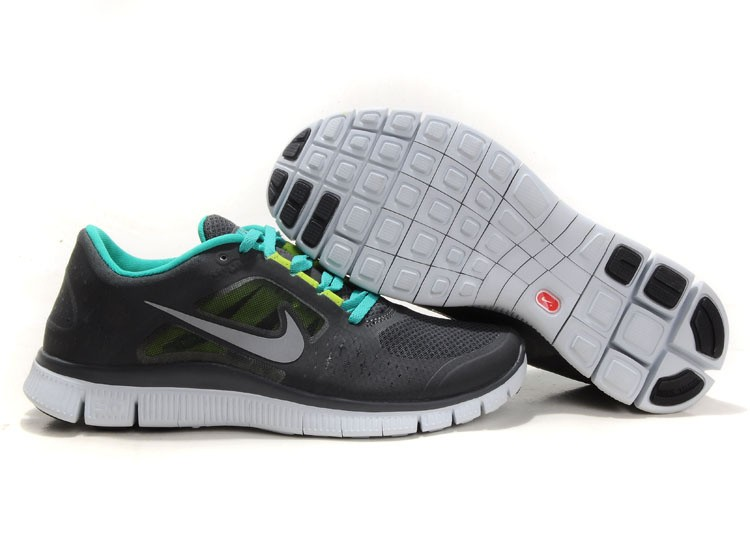 Nike Free Run+ 3 Men's Running Shoe Black Green