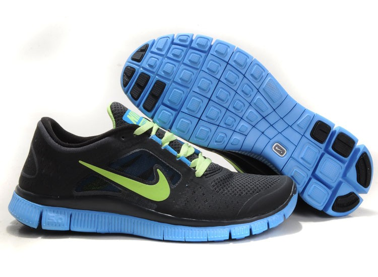 Nike Free Run+ 3 Men's Running Shoe Black Jade Green