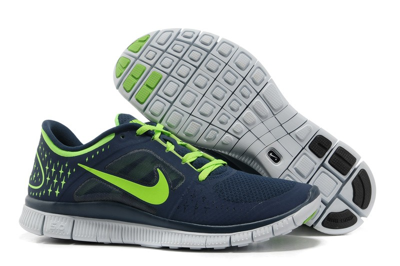 Nike Free Run+ 3 Men's Running Shoe Dark Blue Green