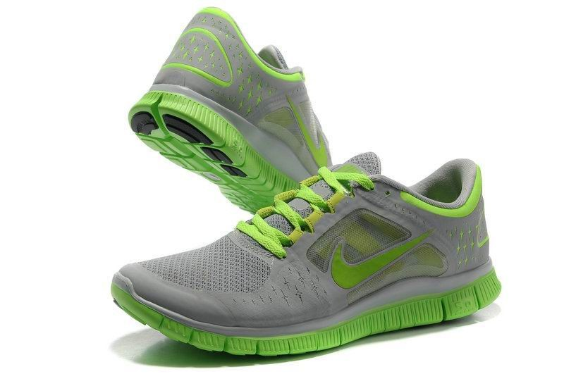Nike Free Run+ 3 Men's Running Shoe Grey Fluorescence Green