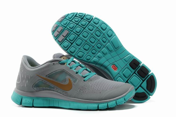 Nike Free Run+ 3 Men's Running Shoe Grey Jade Gold