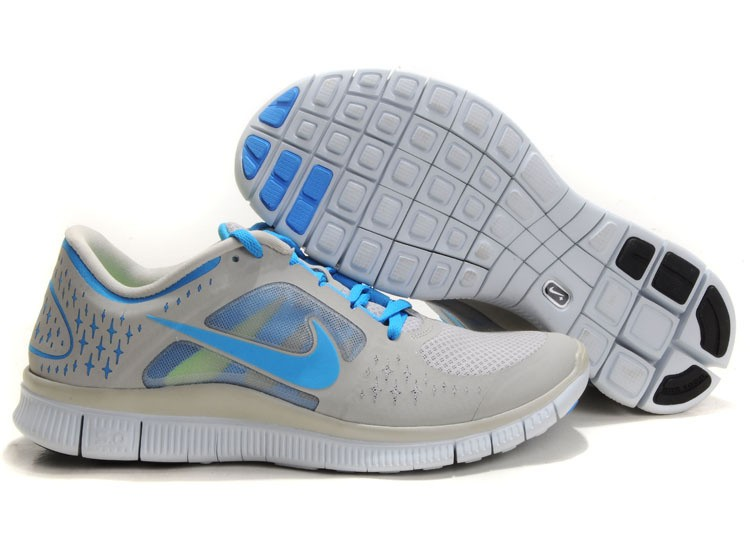 Nike Free Run+ 3 Men's Running Shoe Light Grey Blue