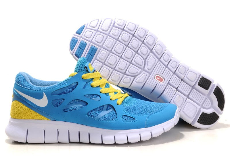 Nike Free Run 2 Womens Running Shoes Blue White Yellow