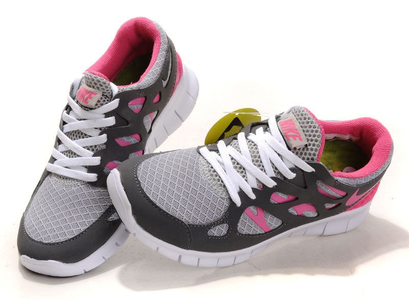 Nike Free Run 2 Womens Running Shoes Grey Pink White